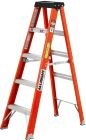 Stepladder, 4-ft H, 19.00 x 29.00 in., Heavy-Duty, Fiberglass, Orange, 300-lb, Molded Top, 14 Lb/Ea
