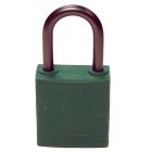 Safety Lockout Padlock, Nonmetallic Body, Green, 1 in