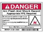 Safety Warning Label Self-Adhesive Polyester Danger - Arc Flash And Shock Hazard - Appropriate PPE Required