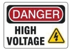 Electrical and Lockout Safety Label, DANGER - HIGH VOLTAGE Marking, Styrene, Arrow