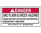 Safety Warning Label Self-Adhesive Polyester Danger - Arc Flash And Shock Hazard - Appropriate Personal Protection Equipment Required