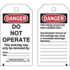 Lockout Tag, Danger - Do Not Operate, 5.75 in. L x 3.00 in. W Marker, Cardstock, Black Red White