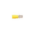 Male Disconnect Terminal, 12 AWG - 10 AWG, 0.250X0.032 in. Tab, Yellow, PVC, 105 deg C